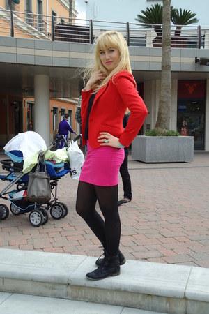 red H&M jacket - pink Zara skirt - Parfois ring