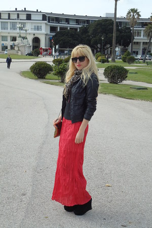 black Primark shoes - Zara jacket - H&M scarf - black H&M glasses - coral skirt