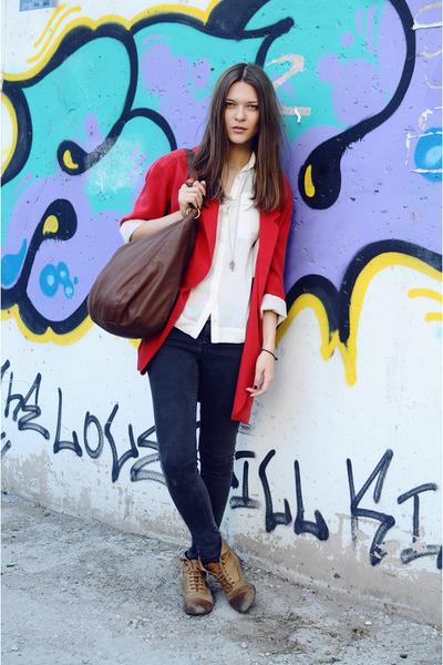 Topshop shoes - Topshop jeans - Zara blazer - Zara shirt - Zara bag - H&M ring