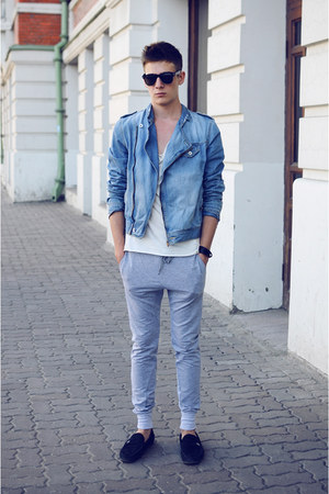 light blue Zara jacket - black Gravis shoes - white Topman t-shirt