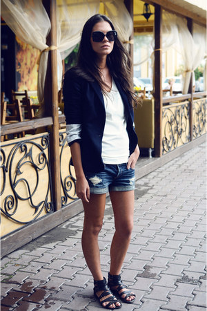 navy Zara jacket - blue abercrombie and fitch shorts - eggshell Harms t-shirt -