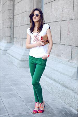 hot pink Zara sandals - teal Zara jeans - peach Topshop glasses