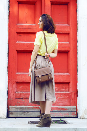 dark brown Zara shoes - yellow Zara shirt - brown vintage bag - tan Forever 21 s