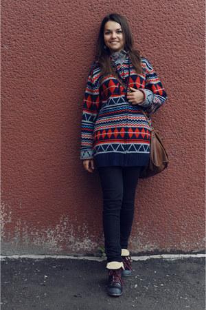 black Topshop boots - black Topshop jeans - brown Topshop bag