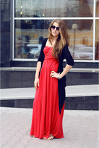 red Calzedonia dress - camel Louis Vuitton sandals - black Zara cardigan - black
