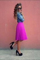 magenta skirt - sky blue blouse