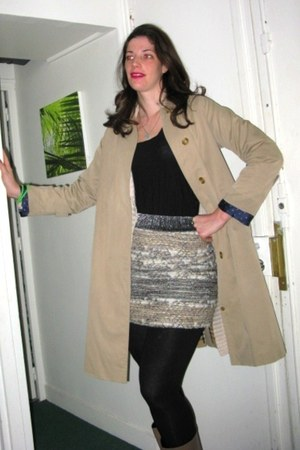 black H&M shirt - beige vintage Burberry coat - silver chanel style Mango skirt