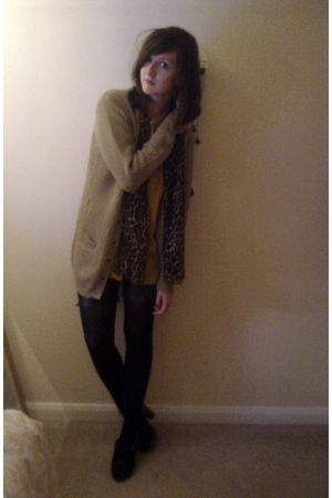 brown Primark cardigan - gold vintage blouse - black DIY shorts - black Primark