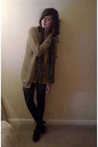 brown Primark cardigan - gold vintage blouse - black DIY shorts - black Primark
