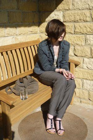 gray pants - beige vest - vintage jacket - necklace - Dorothy Perkins shoes