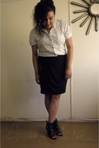 black H&M skirt - white Mossimo blouse - black heels