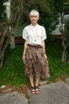 long skirt vintage parry joseph skirt - woven leather vintage belt