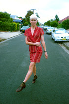 maroon brogues vintage shoes - red red vintage remake dress