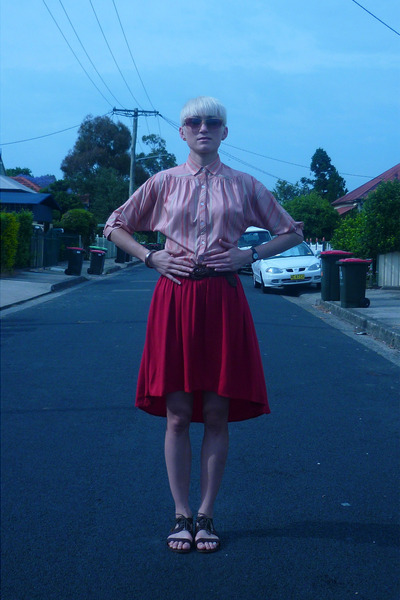 red rayon DIY skirt - brown leather Jeffrey Campbell sandals