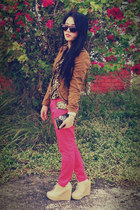 camel Vintagew blazer - hot pink vintage pants