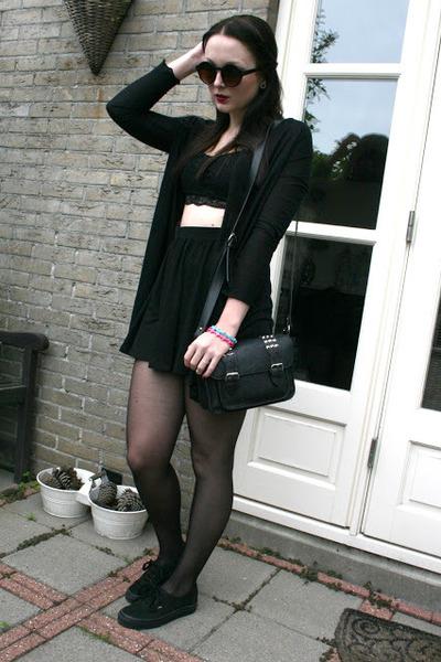 Skater Skirt skirt - round sunglasses sunglasses - lace Croptop top