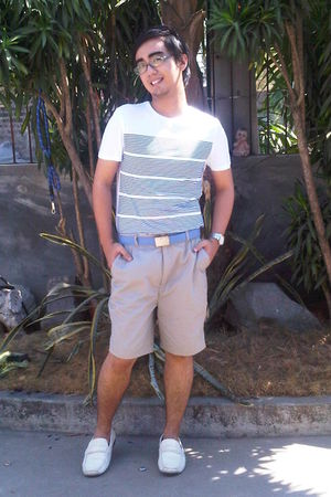Topman t-shirt - Oxygen shorts - Cardams shoes - blue YRYS belt