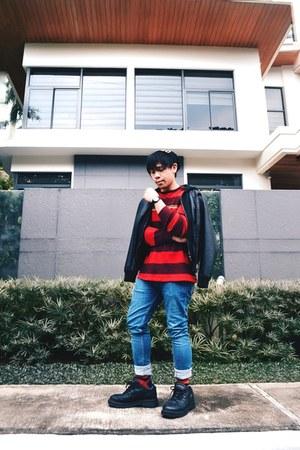 black f21 jacket - red Gap sweater