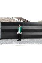 green mint jacket - black doc martens shoes - black H&M hat - white Zara shirt