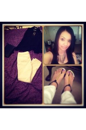 white jeans - black purse - gold necklace - black vest - black sandals