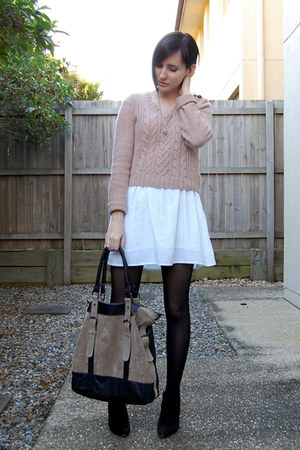 black zu boots - white MinkPink dress - camel Dotti sweater - beige Sportsgirl b