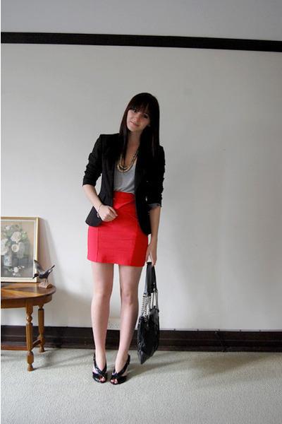 orange Sportsgirl skirt - black zu shoes - black portmans blazer