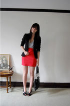 orange Sportsgirl skirt - black zu shoes - black portmans blazer