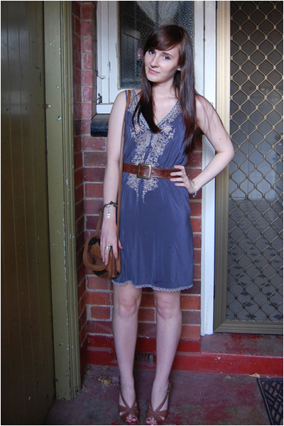 blue wish dress - brown betts shoes - brown thrifted belt - brown Sportsgirl pur