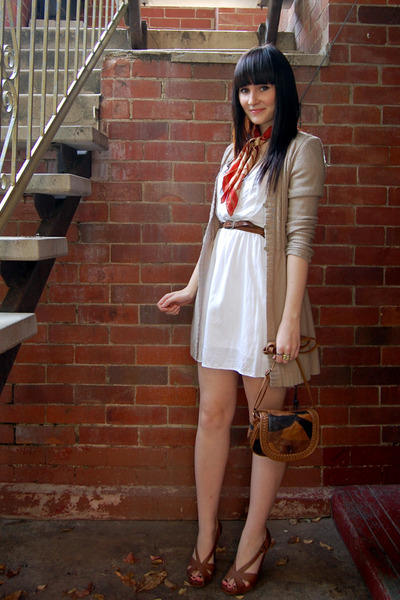 white MinkPink dress - beige Jeans West cardigan - brown betts shoes - brown Spo