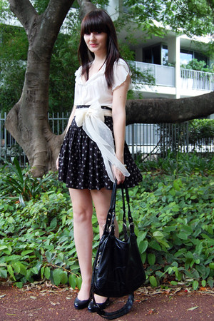 white MinkPink blouse - black Strandbags bag - black French Connection skirt