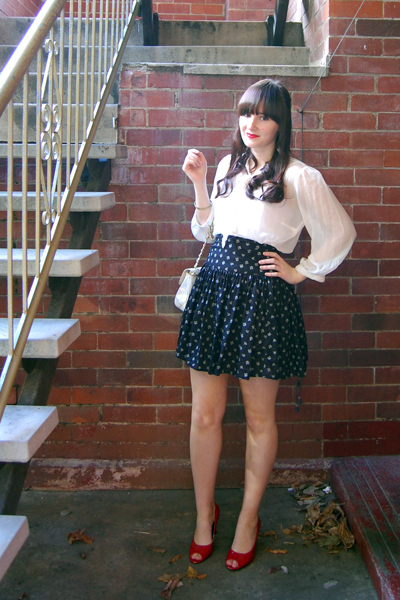 Forever New blouse - French Connection skirt - Lipstik shoes - thrifted purse