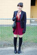 portmans blazer - Valleygirl dress - zu boots - thrifted scarf