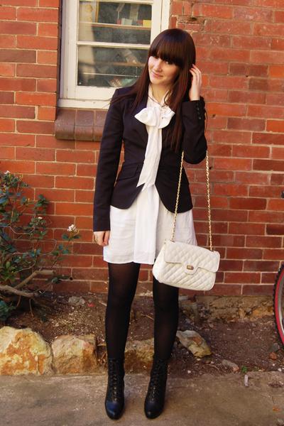 Target blouse - MinkPink dress - portmans blazer - zu boots - thrifted purse
