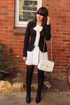 Target blouse - MinkPink dress - portmans blazer - zu boots - thrifted purse