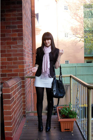 black portmans blazer - white Sportsgirl dress - pink basque scarf - black zu bo