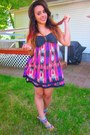 Hot-pink-dress-brown-fedora-hat-amethyst-sandals