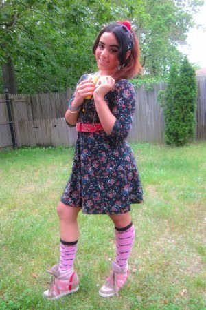navy floral print dress - bubble gum mustache print socks - red belt