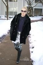 gray dvf leggings - black vintage coat - white Torn t-shirt - black London Fog b