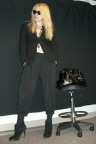 black Theory pants - black thrift blazer - black Steve Madden boots - black YSL