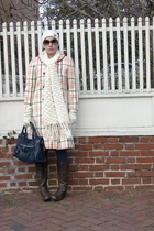 beige vintage coat - blue ABS dress - blue balenciaga purse - brown Steve Madden