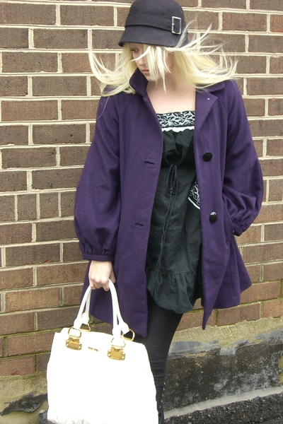 purple banana republic coat - purple banana republic hat - black dress - white M
