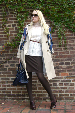 vintage blouse - vintage belt - balenciaga purse - thifted scarf - corso como sh