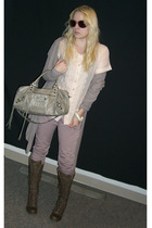 purple McQ pants - brown Fiorentini & Baker boots - pink Stella McCartney blouse