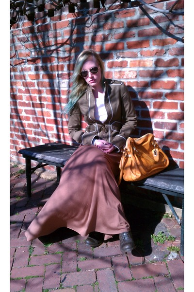 Marc Jacobs jacket - dark brown Nine West boots - Chloe bag - Rachel Pally skirt