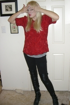 black Topshop boots - red shirt - black Seven For All Mankind jeans