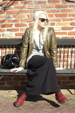 black skirt - green jacket - red doc martens boots - beige NY&amp;CO hat - black YSL