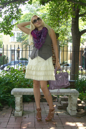 Alice and Olivia dress - LaRok vest - stuart weitzman shoes - balenciaga purse -