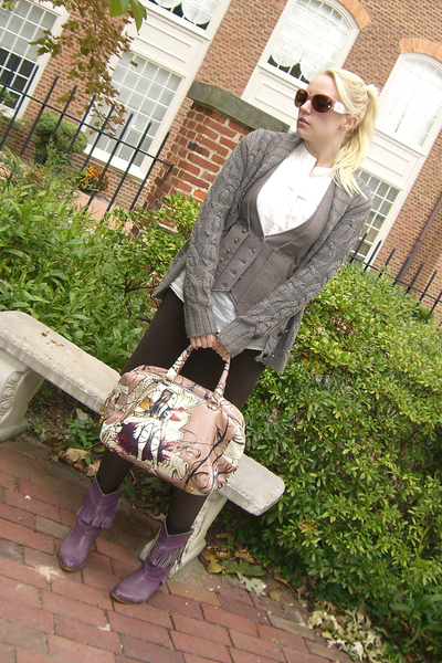 banana republic sweater - LaRok vest - banana republic shirt - prada fairy purse