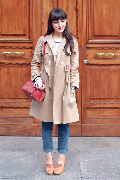 tan Orla Kiely coat - blue vintage jeans - brick red Misha Barton bag
