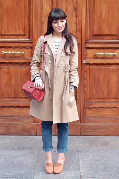 tan Orla Kiely coat - blue vintage jeans - brick red Misha Barton bag